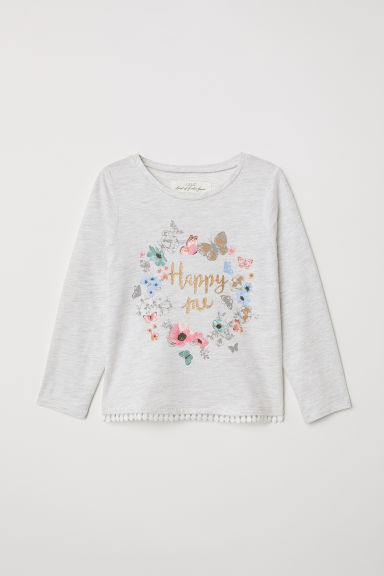 Printed jersey top - Light grey marl/Butterflies - Kids | H&M CN