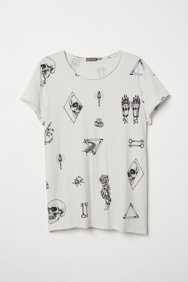 Printed T-shirt - Natural white/Skulls - Men | H&M