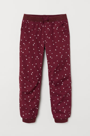 Lined joggers - Burgundy/Stars -  | H&M