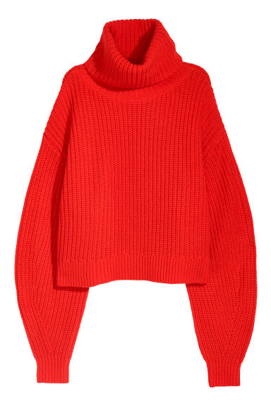 Knitted wool-blend jumper - Bright red - Ladies | H&M GB