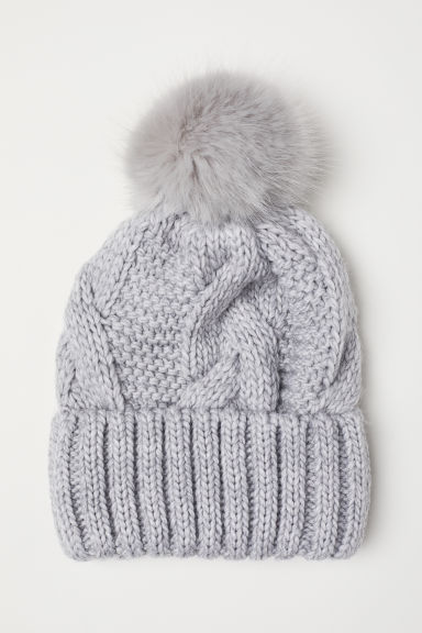 Cable-knit hat - Light grey marl - Ladies | H&M