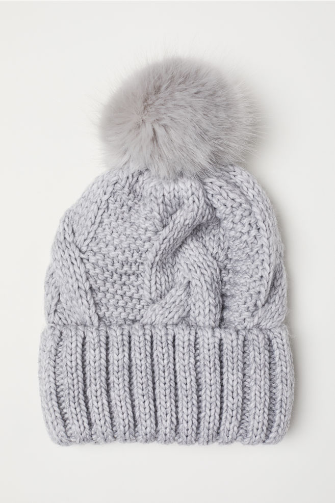 4f716faae44 Cable-knit Hat - Light gray melange - Ladies