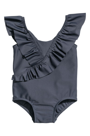 Swimsuit with frills - Dark blue -  | H&M CN