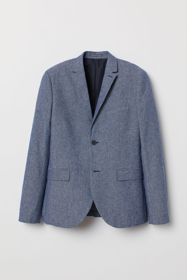 Cotton jacket Slim Fit - Blue marl - Men | H&M CN