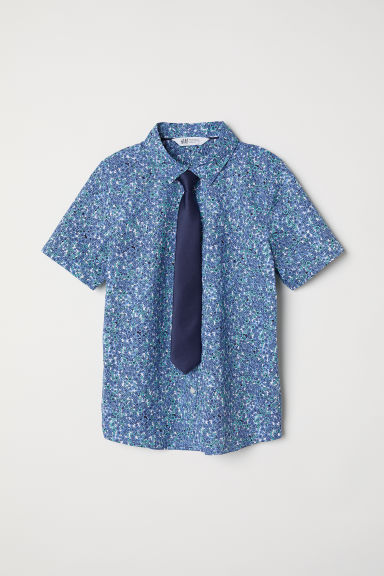 Shirt with a tie/bow tie - Blue floral/Tie -  | H&M