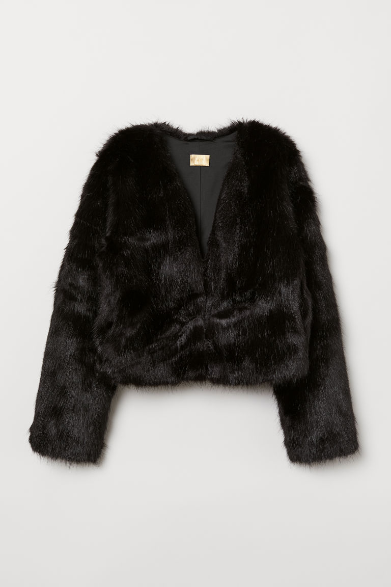 Short faux fur jacket - Black - Ladies | H&M