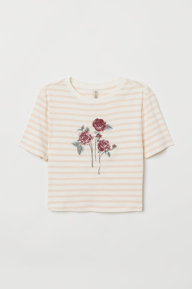 T-shirt con ricami - Bianco/rosa righe - DONNA | H&M IT