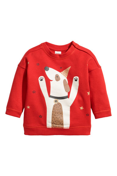Sweatshirt - Bright red/Dog - Kids | H&M CN