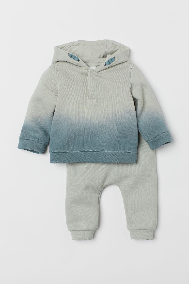 Hooded top and trousers - Light green/Dip dye - Kids | H&M CN