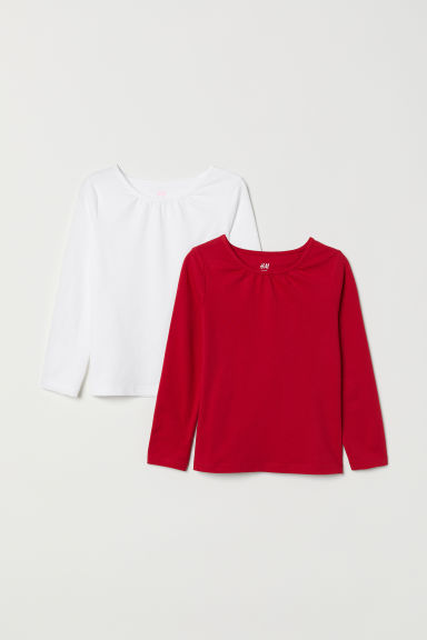 2-pack long-sleeved tops - Dark red/White -  | H&M