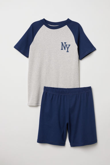 Jersey pyjamas - Light beige/Dark blue - Kids | H&M CN