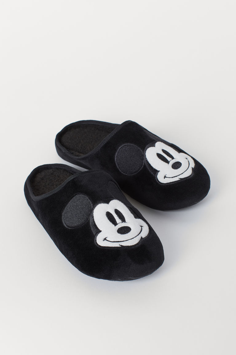 Slippers with Embroidery - Black/Mickey Mouse - Men | H&M US