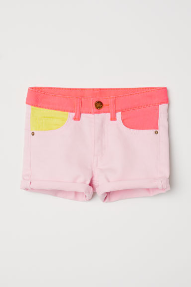 Short court en twill - Rose clair/color block -  | H&M CH