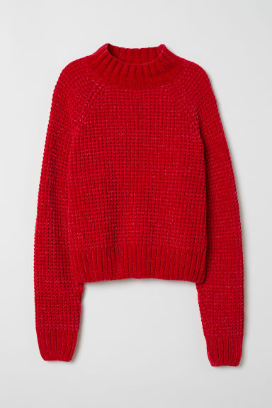 Ribbed jumper - Red -  | H&M