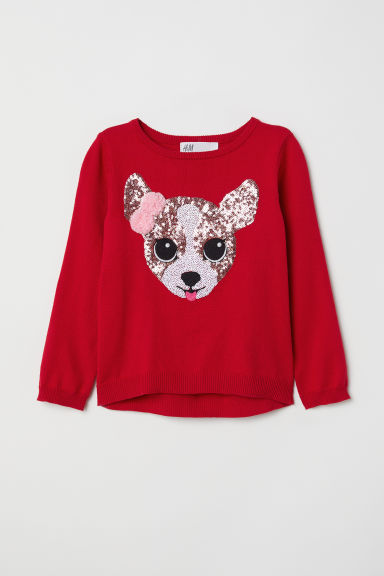 Knitted jumper with a motif - Red/Dog - Kids | H&M CN
