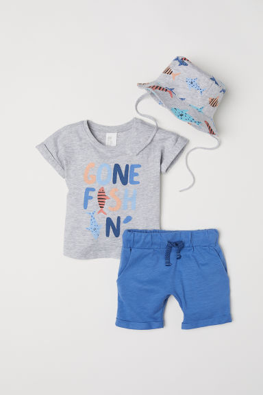 Set in jersey, 3 pezzi - Blu/Gone fishin' - BAMBINO | H&M IT