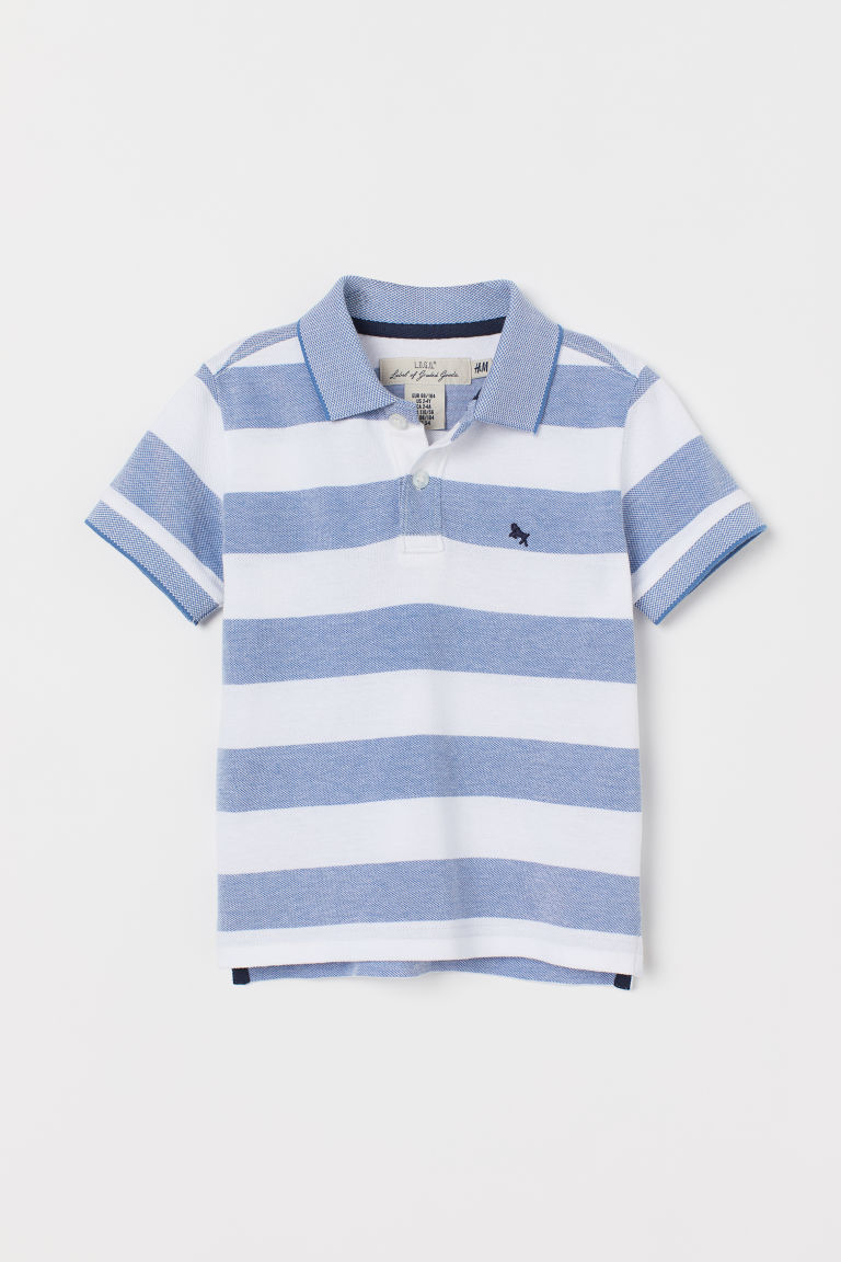 Polo shirt - Blue/White striped - Kids | H&M GB