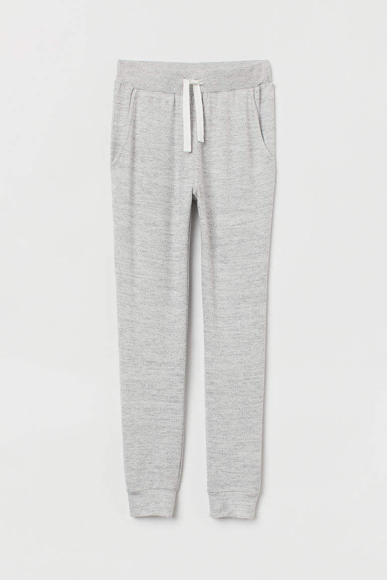 Fine-knit joggers - Light grey marl - Kids | H&M CN