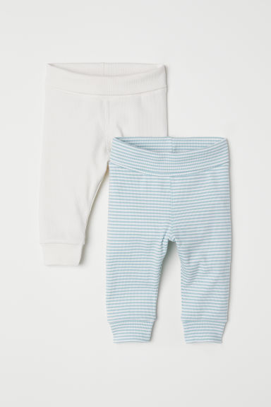 2-pack ribbed leggings - Light turquoise/Striped - Kids | H&M CN