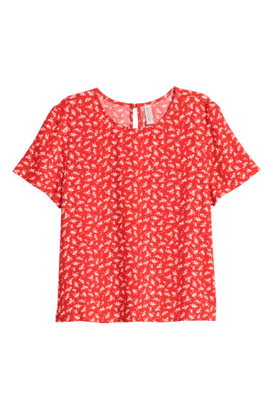 Viscose top - Red/Floral -  | H&M CN