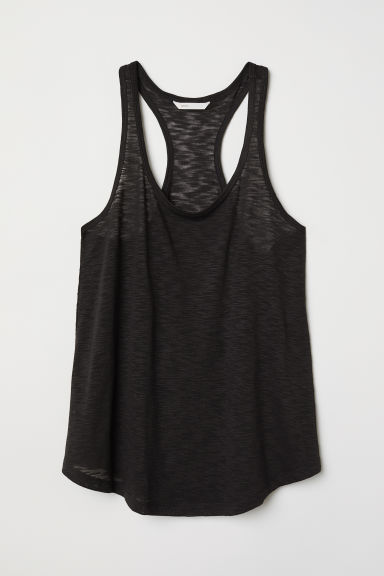 Slub jersey vest top - Black - Ladies | H&M CN