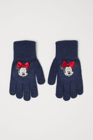 Gloves with a motif - Dark blue -  | H&M