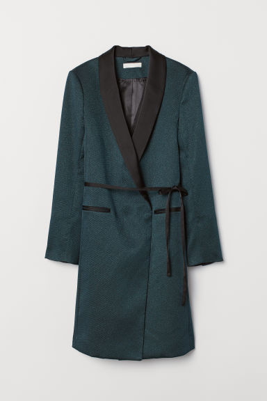 Tuxedo-collared Coat - Teal/glittery - Ladies | H&M US