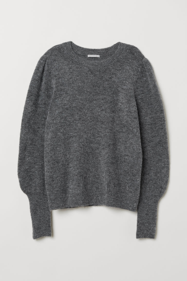 Knitted wool-blend jumper - Grey marl - Ladies | H&M CN