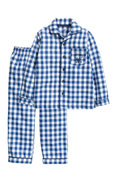 Flannel pyjamas - Blue/White checked -  | H&M CN