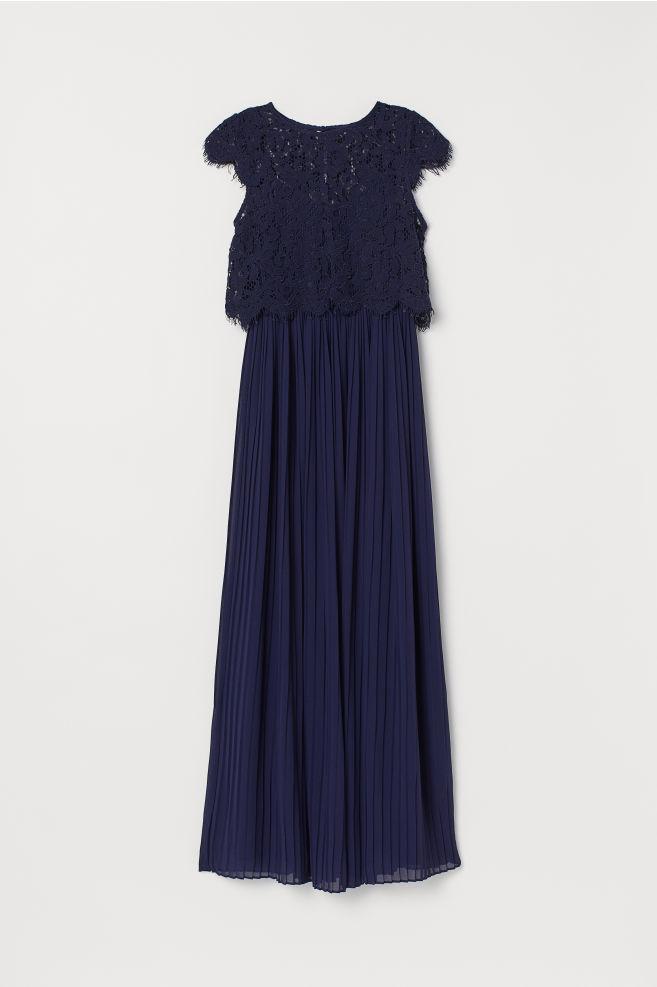 605ccd84fe2 ... Pleated Maxi Dress - Dark blue - Ladies