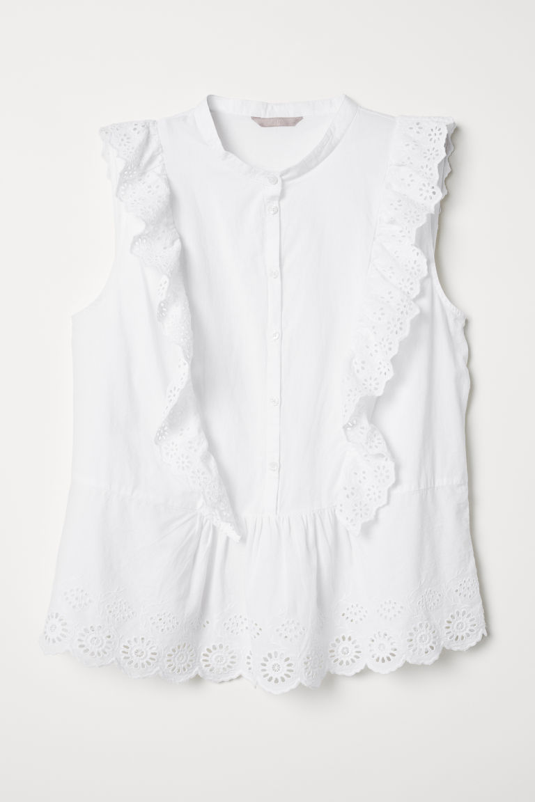 H&M+ Flounced blouse - White - Ladies | H&M CN