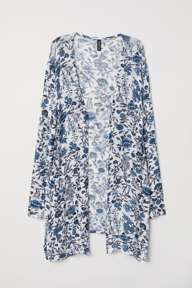 Patterned cardigan - White/Blue floral - Ladies | H&M CN