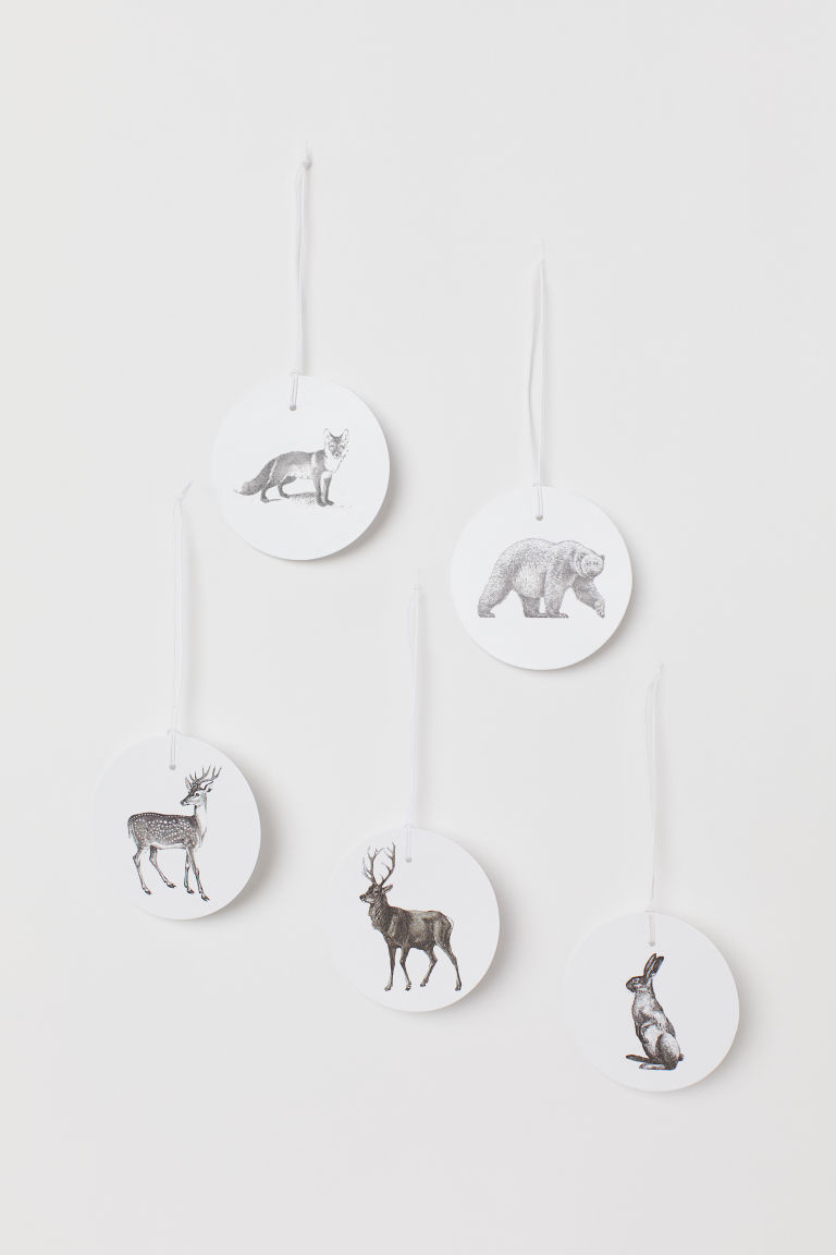 5-pack Gift Tags - White/reindeer - Home All | H&M US