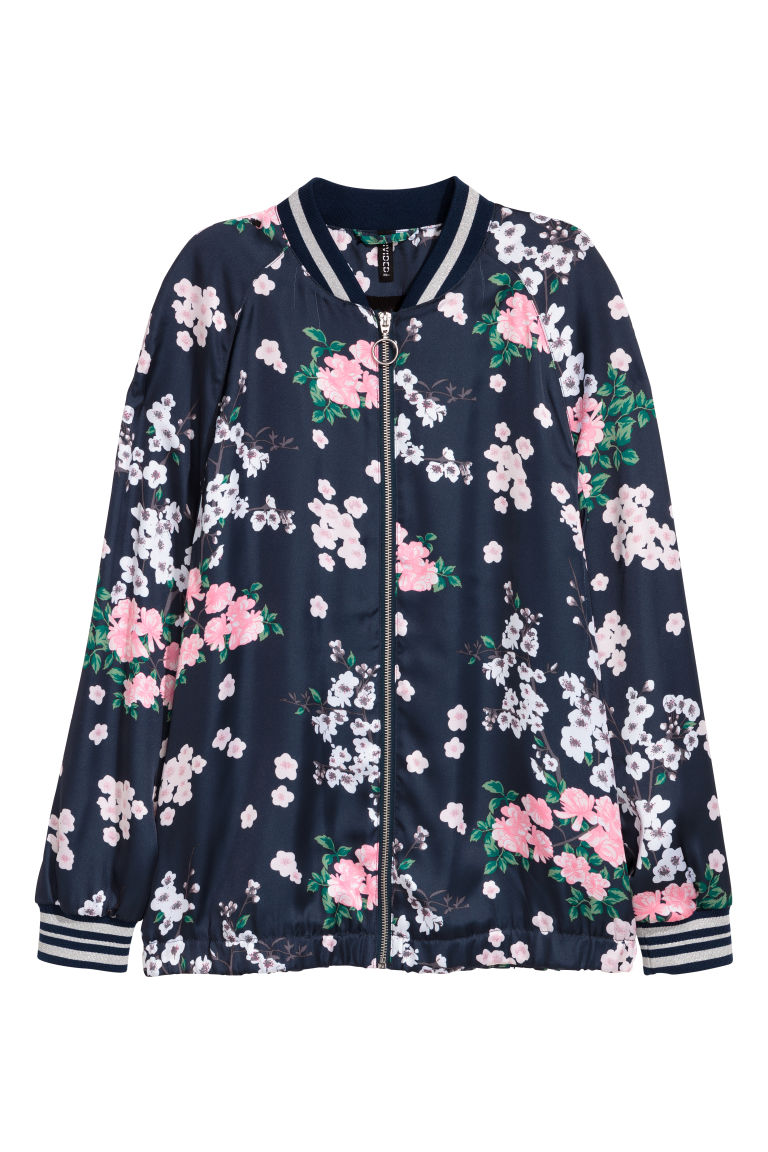 Satin bomber jacket - Dark blue/Floral - Ladies | H&M