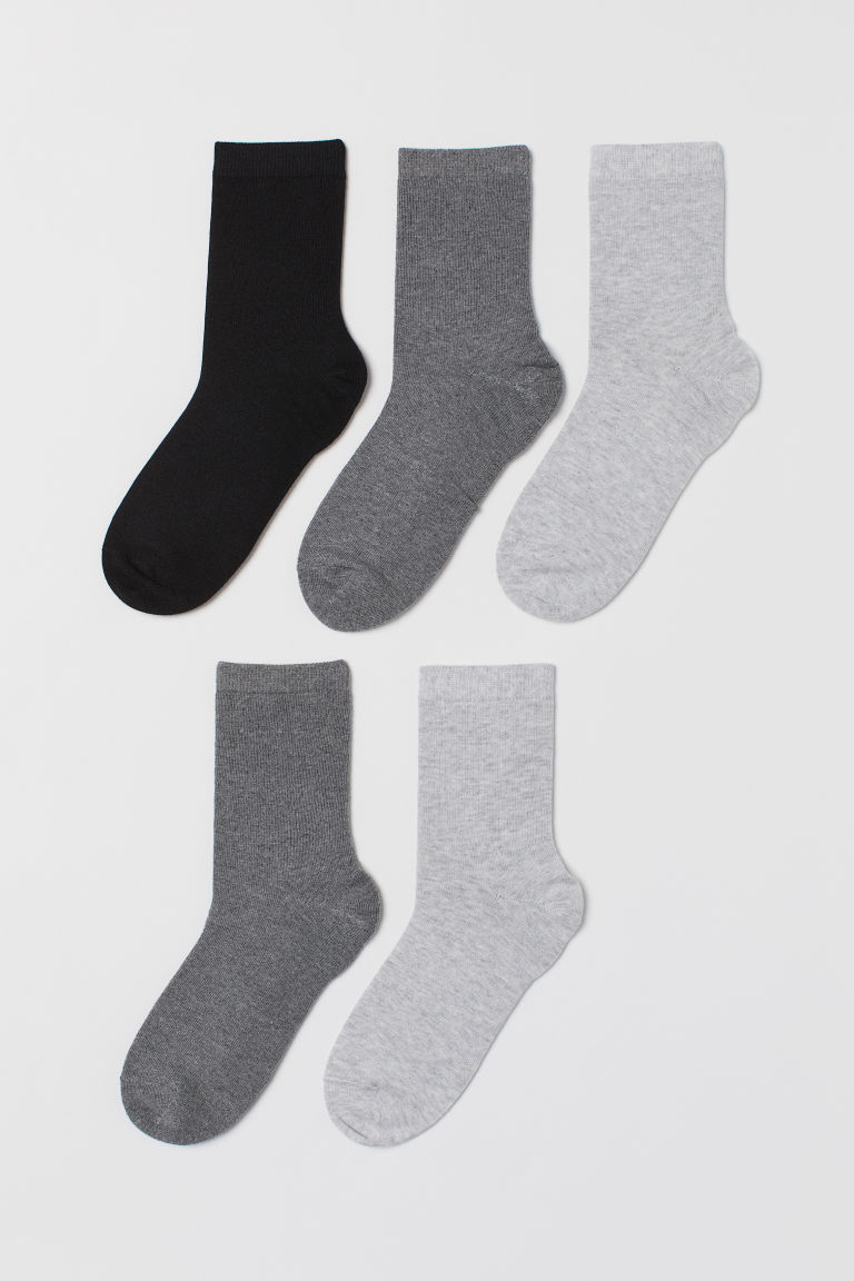 5-pack socks - Black/Dark grey marl - Kids | H&M IE
