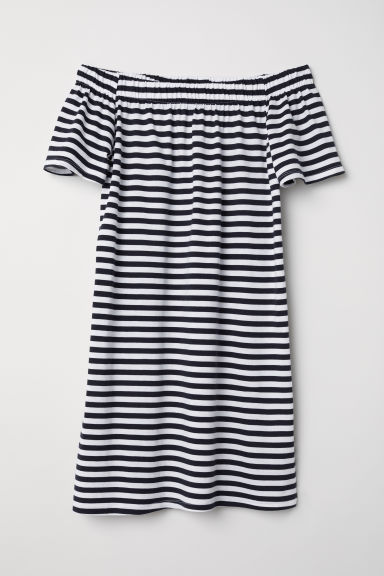 Off-the-shoulder cotton dress - White/Striped - Ladies | H&M CN