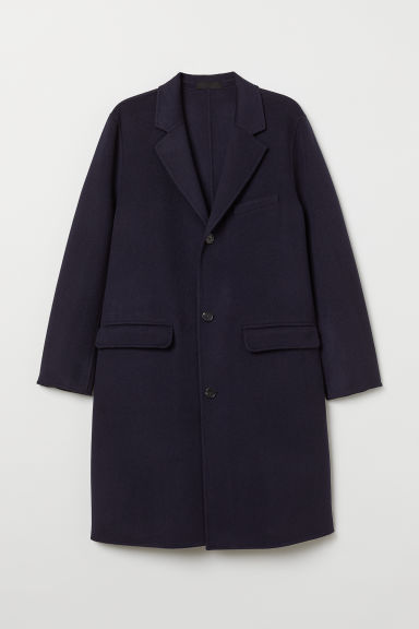 Cashmere-blend coat - Dark blue - Men | H&M CN