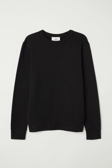 Silk-blend sweatshirt - Black -  | H&M