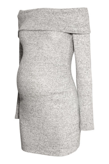 MAMA Off-the-shoulder jumper - Light grey marl - Ladies | H&M
