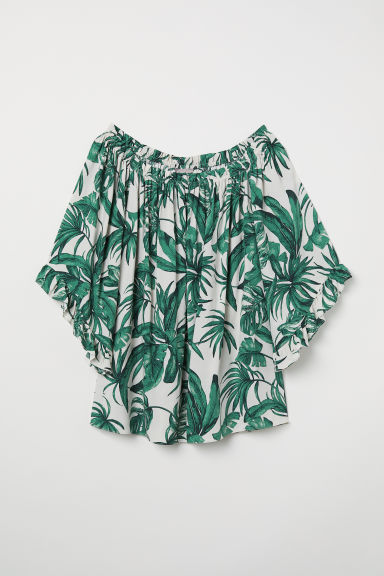 H&M+ Frilled blouse - White/Leaf-patterned - Ladies | H&M CN