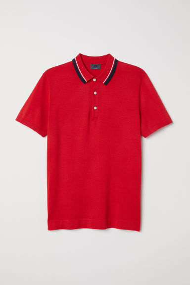Silk-blend polo shirt - Bright red - Men | H&M