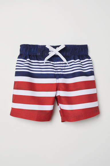 Patterned swim shorts - Red/Striped - Kids | H&M