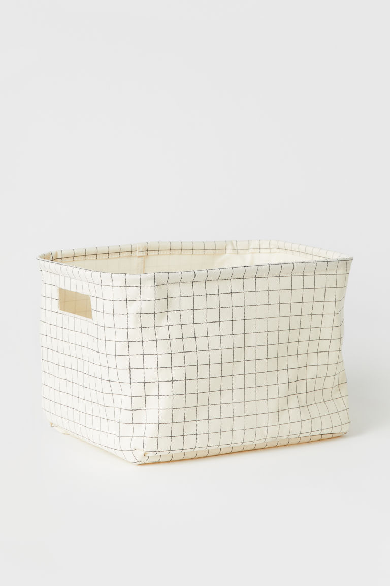 Cotton twill storage basket - Natural white/Black checked - Home All | H&M GB