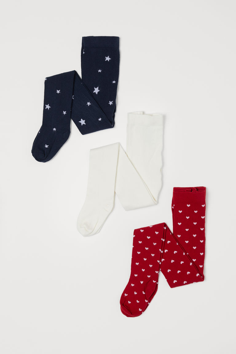 3-pack tights - Red/Hearts - Kids | H&M