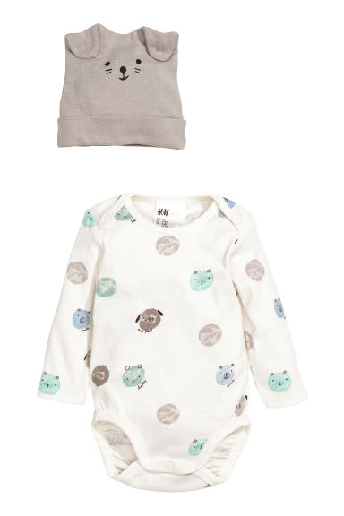 3-piece jersey set - Natural white/Teddy bears - Kids | H&M
