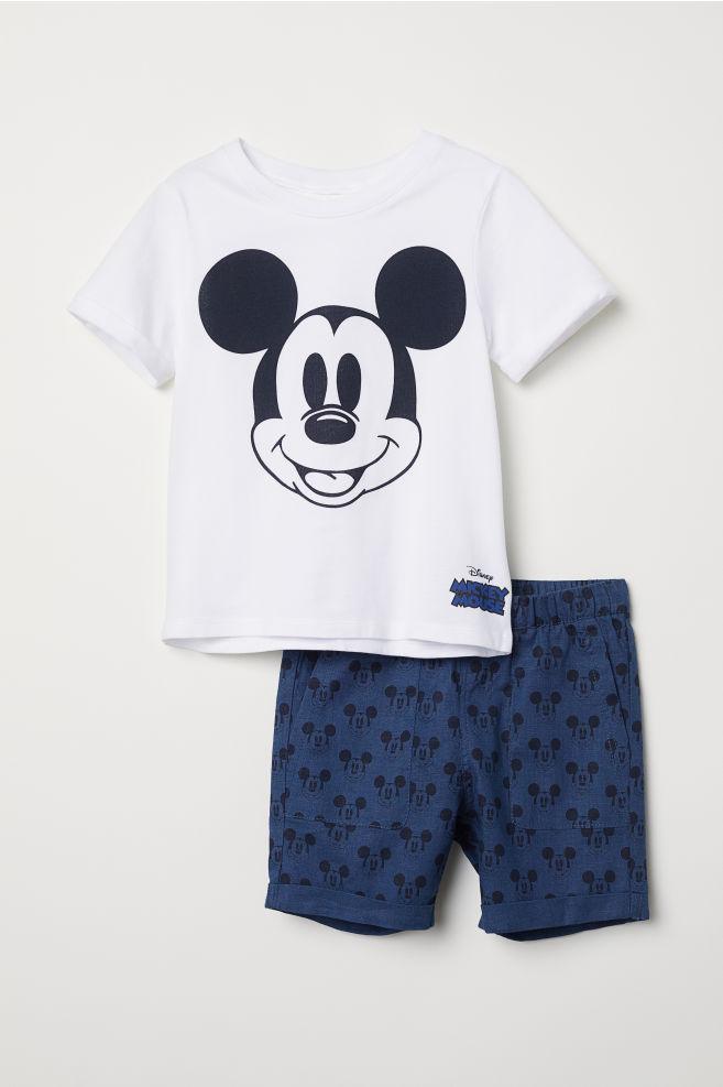 fbd00f0f5f Póló sorttal - Fehér/Mickey egér - GYEREK | H&M ...
