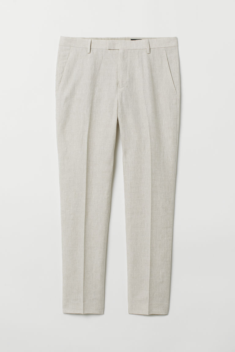Linen suit trousers Slim fit - Light beige - Men | H&M CN