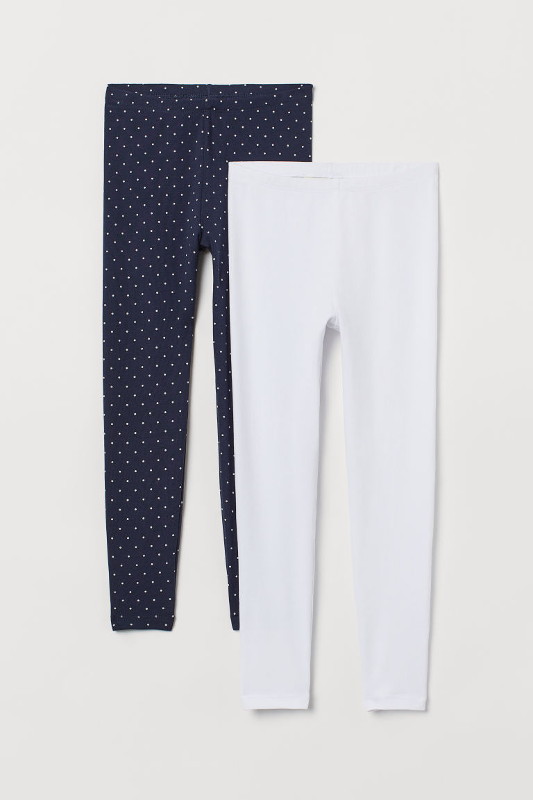 2-pack leggings - Dark blue/White - Kids | H&M IN