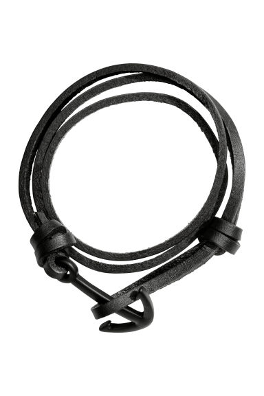 Leather bracelet - Black/Black -  | H&M IE