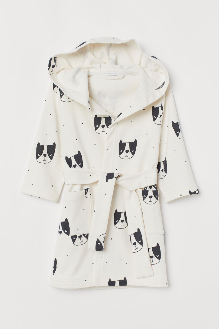 Hooded dressing gown - Light beige/Dogs - Home All | H&M CN